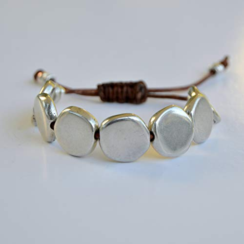 Pulsera ajustable plata para hombre o mujer, regalos originales joyas artesanales