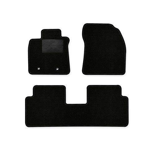 Bär-AfC TY04814 Ideal Auto Fußmatten Nadelvlies Schwarz, Rand Kettelung Schwarz, Trittschutz Kunststoff, Set 3-teilig, Passgenau für Modell Siehe Details