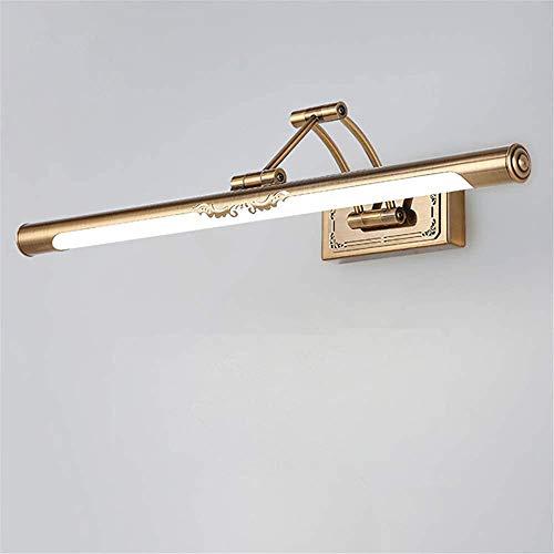 COMICA1 Spiegel-LED Bad make-up lamp, vintage in gouden messing gegraveerd tweearmige wandlamp, acryl-masker lampenkap fineer, ijzeren hoek verstelbaar, warmwit, goud