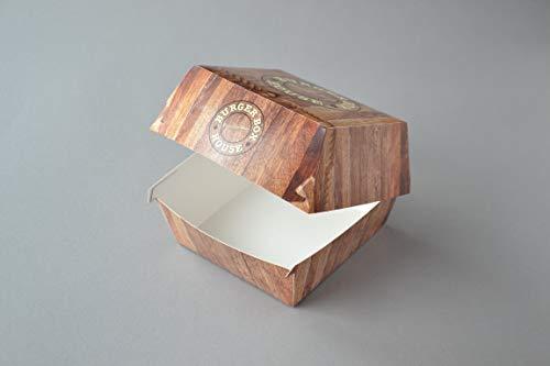 300 Stück Hamburgerboxen, medium, mit Burger House Motiv Einweg Burger Cheeseburger Box aus Pappe Snackbox zum Mitnehmen