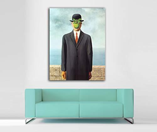 Cuadro Lienzo El Hijo del Hombre de Rene Magritte - Lienzo de Tela Bastidor de Madera de 3 cm - Fabricado en España - Impresión en Alta resolución – Varias Medidas (46, 60)