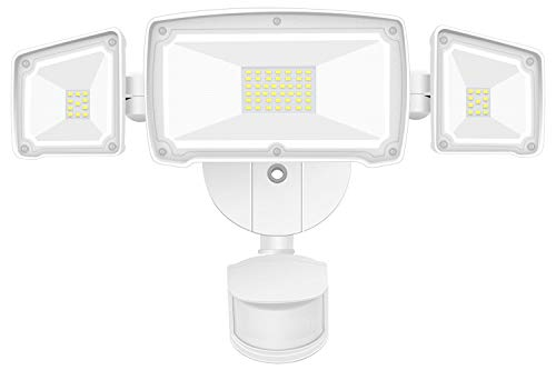 GSBLUNIE LED Security Lights Outdoor 4000LM, 42W 6000K Super Bright Motion Sensor Light, 3 Adjustable Head, IP65 Waterproof Flood Light Outdoor for Entryways, Stairs, Yard and Garage