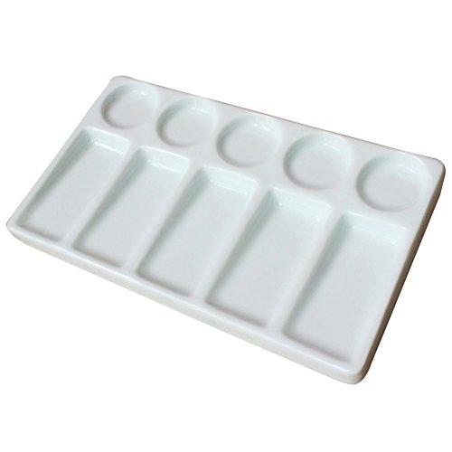 ROSENICE Mischpalette aus Keramik Rechteckig für Öl Aquarell Malerei (Weiß)