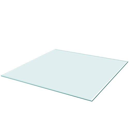 Festnight Tablero de Mesa de Cristal Templado Cuadrado - Color de Transparente Material de Vidrio, 700x700 mm