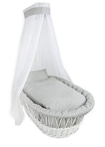 7-teilig Bezug Textile Ausstattung für Stubenwagen Bollerwagen Himmel Matratze Baby Punkten Grau