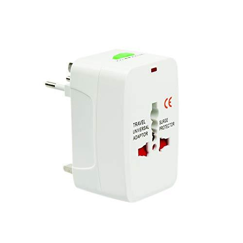 Adaskala Conector de Adaptador de CA Internacional Todo en uno (AU/UK/US/EU) Convertidor de Adaptador de Enchufe de Cargador de alimentación de CA Universal en Todo el Mundo, (1 Paquete)