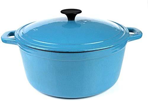 UYZ Pentola di Terracotta per Cucinare - Casseruola Tonda - Fornello per arrostire Forno Olandese Antiaderente in Ceramica in ghisa e Gas Sicuro - con Coperchio-Blu_Diametro 28CM