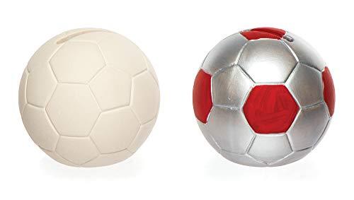 """Baker Ross AR425 Ross Keramik-Spardosen """"Fußball"""" für Kinder zum Bemalen und Dekorieren – Porzellan-Bastelset für Kinder (2 Stück)"""