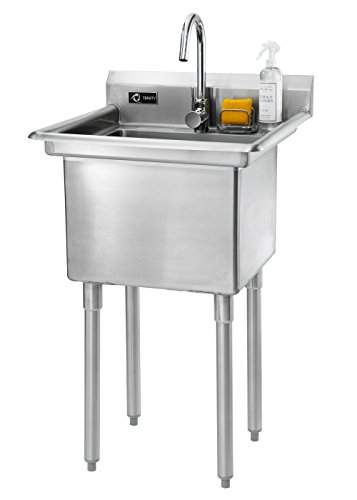 """TRINITY Stainless Steel Utility Sink, 23.3"""" W x 23.3"""" D x 46"""" H"""