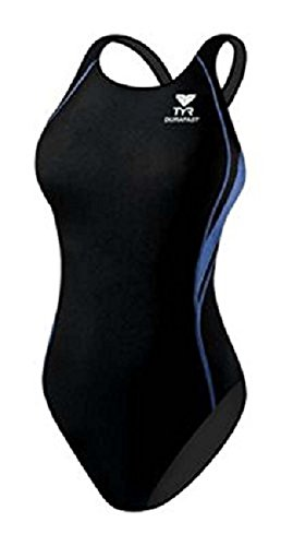 TYR Sport Girls Alliance Durafast Splice Maxback Swim Suit (Black/Blue, 24)
