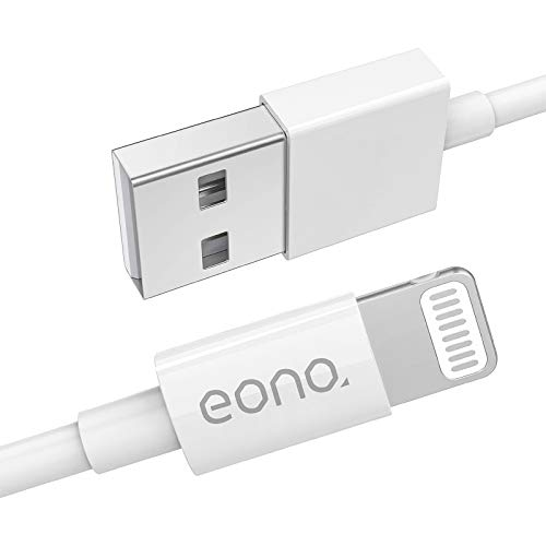Eono Amazon Brand Cable Lightning Cable Cargador de iPhone - [Certificado MFi de Apple] 3.3ft/1m iPhone Cable de C89 Carga Rápida para iPhone XS MAX X XR 8 7 6s 6 SE, iPad, iPod-Blanco