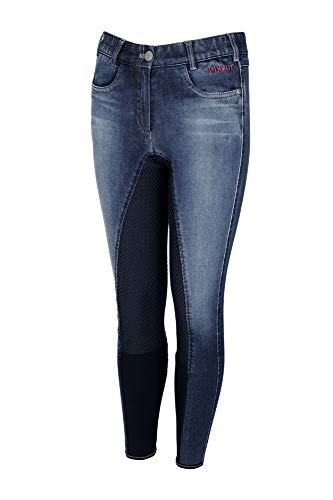 Pikeur Jugend Vollbesatz Reithose KALOTTA Grip Jeans, Denim Blue, 134