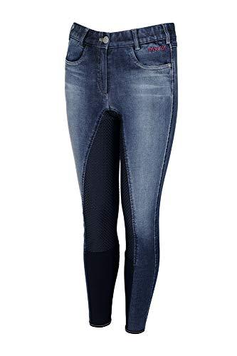 Pikeur Jugend Vollbesatz Reithose KALOTTA Grip Jeans, Denim Blue, 170