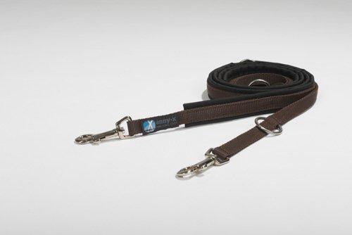 anny-x gepolsterte Führleine 2,0 cm schwarz braun - grosser Karabiner