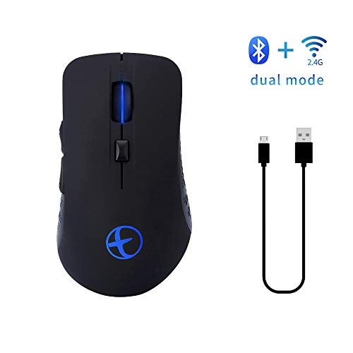 XIAOXIN Oplaadbare Bluetooth 4.0 2.4G Dual Mode Wireless GAMINGMouse voor PC, Mac, laptop, Android Tablet (zwart)
