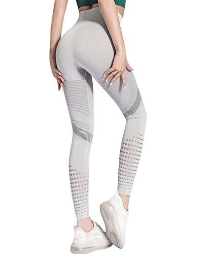 Voqeen Leggings Deportivos Mujer Cintura Alta Pantalones De Yoga De Malla para Running Training Fitness Estiramiento y Pilates