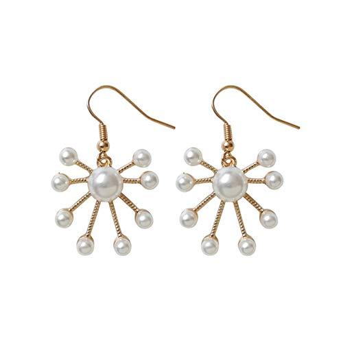 JINGM Femmes Mode Boucles d'oreilles en Métal Belle Fleur De Perle Mode Femme Boucles d'oreilles Bijoux Fins Accessoires Boucles d'oreilles