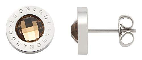 Jewels by Leonardo Damen-Ohrstecker Silber mit braunen Glasstein I Ohrring klein aus Edelstahl mit Gravur
