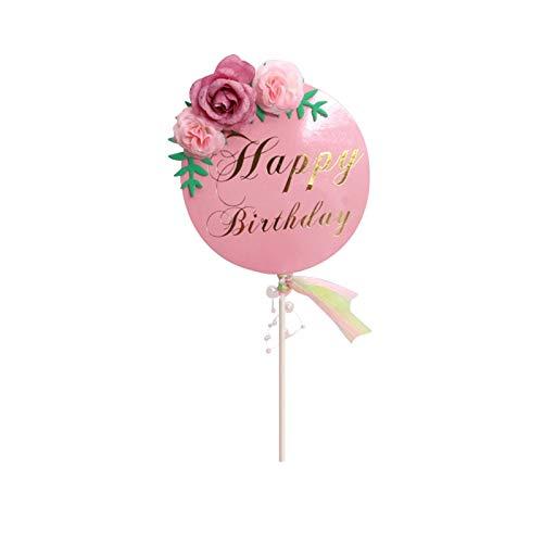 YANFANG 1 Signo De CorazóN Feliz DíA La Madre con Flores PequeñAs Utilizado como DecoracióN para Tartas,Torta Las Madres Tarta CumpleañOs Mamá Elige del Toppers Carta Pastel Suministros Fiesta