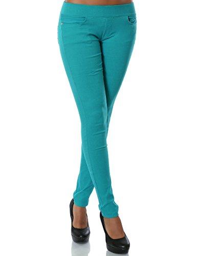 Damen Treggings Hose Skinny (Röhre weitere Farben) No 14028, Farbe:Türkis, Größe:S / 36