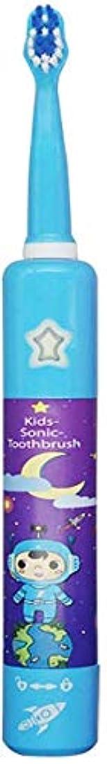 ゴール木私たち電動歯ブラシの漫画かわいい柔らかい毛の歯ブラシ音楽、3-12歳の柔らかい毛の充電式防水、青 Alysays