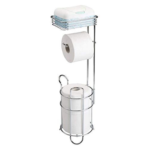 Caseyaria Soporte para Papel higiénico Soporte para Papel higiénico Soporte para Papel higiénico de baño Independiente con Estante Superior Almacenamiento con Capacidad para 3 Rollos,Plata