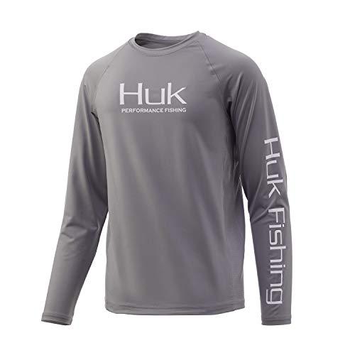 HUK Unisex-Kinder Pursuit Vented | Kid's Long Sleeve Performance Fishing Shirt with +30 UPF Sun Protection Langärmlig, Sharkskin, Large