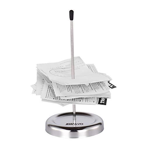 Aibecy Pincho para notas,Soporte para recibos de escritorio con barra recta, palo de pico,notas para billetes, papel, tenedor, control, eje,soporte para boletos de restaurante con cubierta protectora