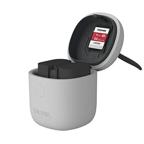 TELESIN ALLIN Box Cargador de batería Dual USB LP-E6 para Canon 5D Mark II III, EOS 5D Mark IV, 5DS, 5DSR, 6D, 60Da, 7D, 7D Mark II, 70D, 80D DSLR Cameras (Gris allin Box + batería 2pcs LP-E6)