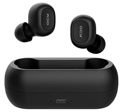 QCY T1c Bluetooth 5.0 TWS Sport Cuffie in Ear Wireless, Wireless con Power Bank, 16 Ore di Gioco, Microfono HD Integrato, Nero