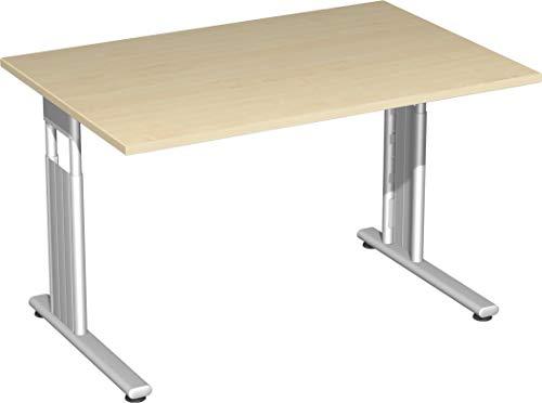 Gera Möbel S-617102-AH/SI Schreibtisch Lissabon, 120 x 80 x 68-82 cm, ahorn/Silber