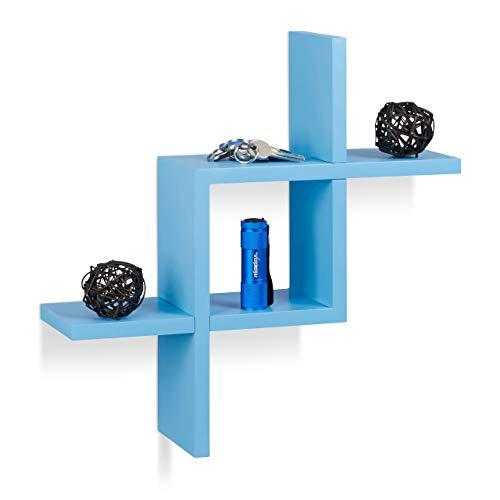 Relaxdays Balda Pared Geométrica, Madera MDF, Azul, 40 x 40 x 12 cm