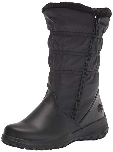 Totes Women's Snow Boots with Zipper Madina Winter Built for Comfort, Available in Medium Width, Black Wide Calf, 8.5