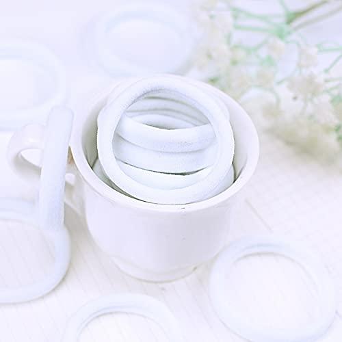 miaoyu 20 cintas elásticas para el pelo para niñas, diademas elásticas blancas, bandas de goma para el cabello, para coleta, diadema, accesorios para el cabello