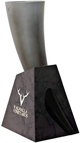 Viking Drinking Horn with stand Medieval Inspired BPA Free Drinking Horn 16 oz Stone Style Base product image