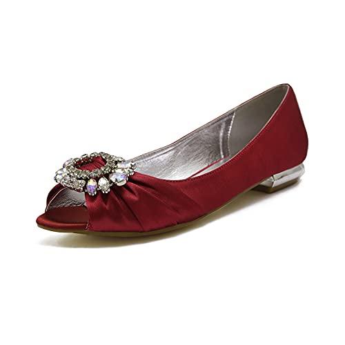Zapatos de Boda para Mujer Elegante Punta Abierta Diamante de satén Bailarina Moda Fiesta Zapatos de Novia de Salon Planos Sandalias,Dark Red,44 EU