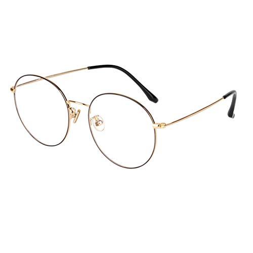 Dames leesbril van puur titanium, tegen blauw, zeer helder, modieus, spiegelend, HD, elegant, rond frame (kleur: goud, grootte: 3,75 x 4,0 x)