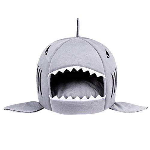 JEELINBORE Práctica Casa de Mascotas Ronda Tiburón Cama para Perros y Gatos (Gris, L: 58 * 50cm)