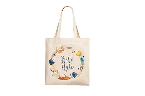 Canvas Minimalist Tote Bag with Interior Pocket/Book bag/Reusable Grocery Bag (Boho Style)