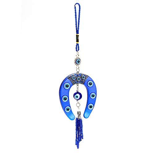 GARNECK Llavero de coche de moda para colgar en la pared de herradura colgante de herradura colgante joyas colgante de mal de ojo bulbo ocular para coche decoración (azul)