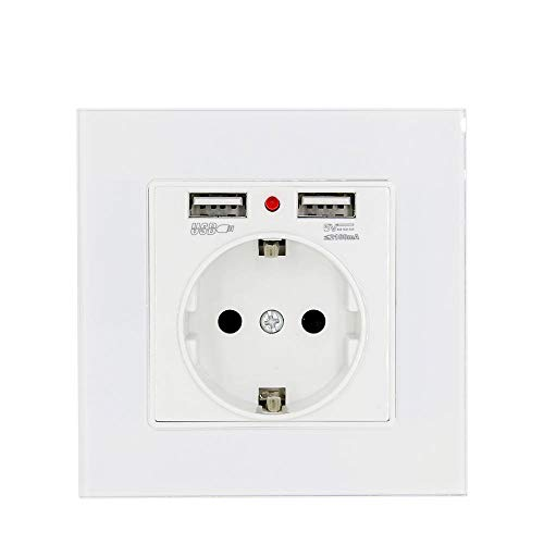 wkd-thvb - Enchufe eléctrico doméstico, con doble toma USB, decorativo, doble panel...