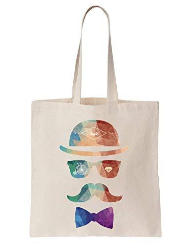 KRISSY Vintage Moustache Hipster Schultertasche Tote Bag