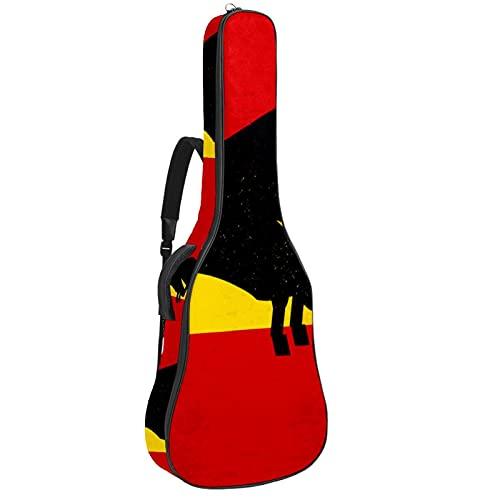 Bolsa de guitarra abstracta silueta de toro en la bandera española acolchada bolsa de transporte funda protectora impermeable con asa de transporte para guitarras acústicas, clásicas y eléctri
