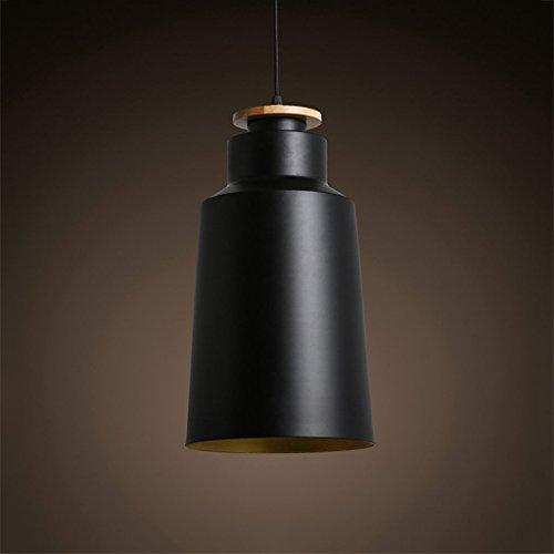 Simple Personnalité Restaurant Pot Couvercle Seule Tête Lampe Salon Chambre Fer Creative Rollsnownow (Couleur : NOIR, taille : 20cm)