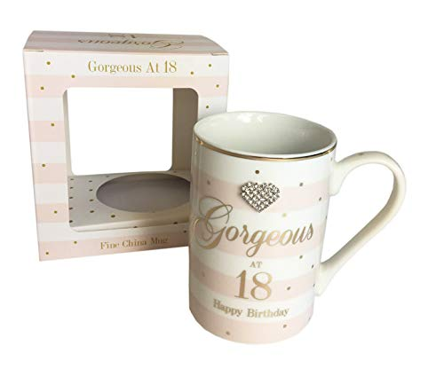 Gorgeous 18th China Mug Happy Birthday Gift for Girls Age Diamante Boxed Present