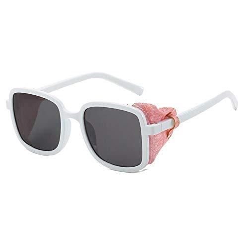 ZZOW Gafas De Sol Cuadradas Steampunk con Decoración De Cuero Lateral para Mujer, Gafas De Sol De Diseñador De Marca para Exteriores, A Prueba De Viento, Gafas De Sol para Hombres