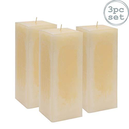Nicola Spring Bougie carrée parfumée à la Vanille avec mèche Unique. Durée d'éclairage de 110 Heures x3