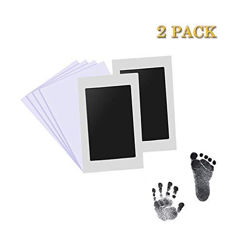 Aikvigss 2pcs Baby Handabdruck und Fußabdruck Clean-Touch Fußabdruck Baby für unter 6 Monate Baby mit 4pcs Druckkarten, Babyhaut kommt nicht mit Farbe in Berührung, Das ideale Babyparty Geschenk