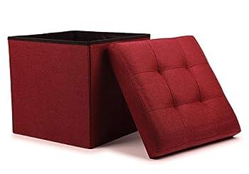 WoneNice Folding Storage Ottoman Cube Foot Rest Stool Seat  Linen Wine Red