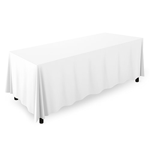 Mill & Thread - 90' x 132' Premium Tablecloth for Wedding/Banquet/Restaurant - Rectangular Polyester Fabric Table Cloth - White